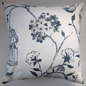 "Cushion Cover in Black Geisha Bird Birdcages 14"" 16"" 18"" 20"""